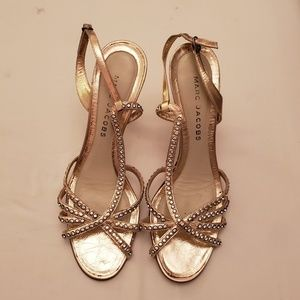 Marc Jacobs Rose Gold Rhinestone heels sz  38 1/2